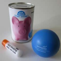 promotional money box stress ball lip balm