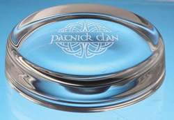 engraved glassware paper weights