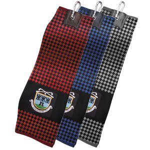 jacquard woven chequered pattern tri-fold golf towel